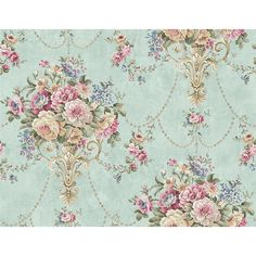 - Wallquest Summer Park Boquet Wallpaper in Blue - GoingDecor Vintage Flowers Wallpaper, Flowery Wallpaper, Victorian Wallpaper, Damask Wallpaper, Pattern Wallpaper, Vintage Paper, Vintage Floral, Vintage Roses, Fantasy