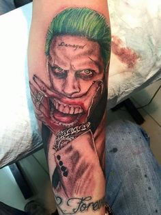 Empire Tattoos Gold Coast Australia artist Damo Gerding specialises in portraits, realism and cover ups. Tattoo The Joker Jared Leto Suicide Squad