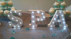 Spa birthday party light up letters! See more party ideas at CatchMyParty.com!