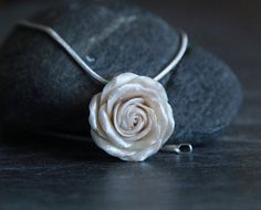 Pearl rose pendant necklace with snake chain, Polymer clay pendant, Feminine jewelry, Rose pendant, Womens necklace, Wedding jewelry women