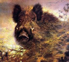 More Wild Boar (Sus scrofa) by Rien Poortvliet (Dutch, 1932-1995).