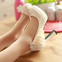 Elegant OL Platform Chunky Heels with Bowtie & Falbala