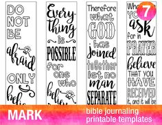 MARK - 4 Bible journaling printable templates, illustrated christian faith bookmarks, black and white bible verse prayer journal stickers by BibleVerseColoring