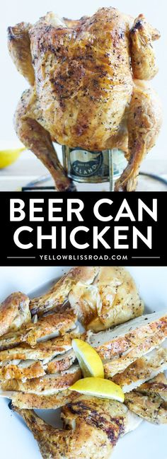 Can Chicken Beer Can Chicken - Use beer or soda for this moist and tender whole chicken dinner on the grill!Beer Can Chicken - Use beer or soda for this moist and tender whole chicken dinner on the grill! Can Chicken Recipes, Beer Recipes, Grilling Recipes, Cooking Recipes, Dinner Recipes, Grilling Ideas, Chicken Ideas, Beer Can Chicken, Canned Chicken
