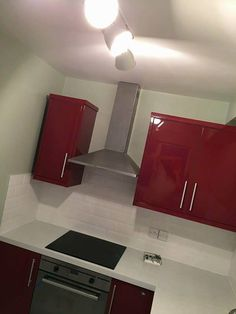 Beautiful red kitchen in a private home in London #redkitchen #kitchendesign #kitchenremodel