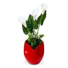 Arranjos de flores artificiais Copo de leite no vaso cachepot em cerâmica com design moderno e flores em eva com corte a laser e textura delicada e realistica. É uma composição Sofisticada e cheia de beleza. Vamos decorar a casa,escritório e etc, com este lindo acessório decorativo ? O Arranjo artificial de flores copo de leite pode ser levado a mesa sem interferir no cheiro da comida. Excelente para os alérgicos. Incontestável em durabilidade comparada a natural. Este projeto fica…