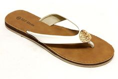 Top Moda Comfort-2 Women's flip flops thong Sandal faux leather with golden decor ** Read more reviews of the product by visiting the link on the image.