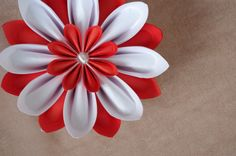 Paper flower in red and white colors by Waveoflight
