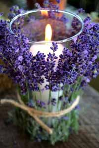 Outdoor table decorations for spring wedding, color theme lavender, green, natural, outdoors.