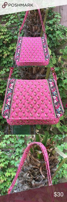 Vera Bradley pink flowers shoulder bag Like new , approx 10.5x9 Vera Bradley Bags Shoulder Bags