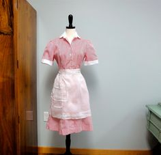 Vintage Waitress Dress or Candy Striper Uniform, Red and White Striped Fashion Seal, Superior Uniforms NOS
