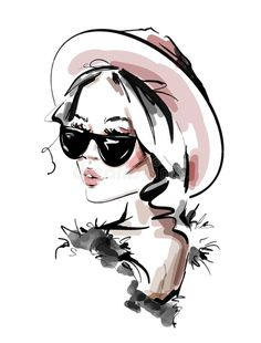 Illustration about Hand drawn beautiful young woman in sunglasses. Fashion woman look. Illustration of lips, illustration, blonde - 148984819 Girl Cartoon, Cartoon Art, Drawing Sunglasses, Woman Sketch, Elegant Girl, Shirt Print Design, Watercolor Illustration, Lips Illustration, Watercolor Logo