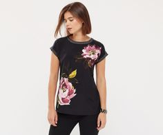 Oasis, PAINTED FLORAL TEE Black