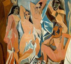 "Pablo Picasso 1907 ""les demoiselles d'Avignon"" cubism (influenced by sculpture and music. Objects seem broken and remade. Distortion. Lack of perspective.) One of Picasso's more well known pieces embodies cubism throughout the broken up subjects of women throughout the composition. The figures are broken up and put back in a geometric style, but the viewer is still able to differentiate them from the background"
