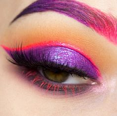 Purple and neon pink eyes