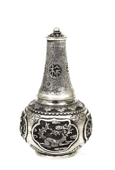 Old Chinese Silver Dragon Perfume Bottle