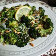Parmesan baked broccoli with garlic and lemon.