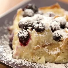 Blueberry Croissant Bread Pudding is delicious comfort food to make for breakfast, brunch or a party. Also great for Mother's Day, Father's Day and Christmas morning. It only takes a few simple ingredients and 10 minutes to prepare before baking. A great way to use up leftover croissants! Serve warm out of the oven. Video recipe.