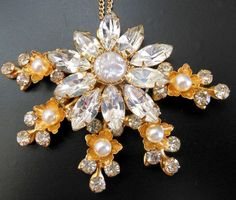 Vintage Gold Tone Clear Rhinestone Baroque Faux by Lavendergems, $28.00