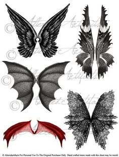 Instant Download Wicked Witch Scary Fairy Wings Bat Dragon Digital Collage Sheet Enchanted Halloween Vintage Clip Art Scrap