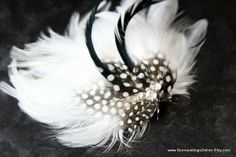 Striking Black and White Feather Veil Comb by SurroundingsOnline