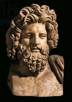 Roman civilization. Head of Asclepius. From Bulla Regia, Tunisia. Artwork-location: Tunis, Musée National Du Bardo (Archaeological Museum)