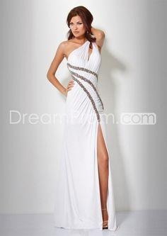 Chic A-Line Floor-Length One-Shoulder Empire Waistline Prom Dresses