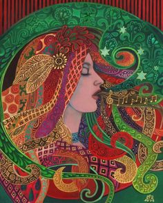 Mezzo Goddess Art Nouveau Music Witch 16x20 Poster by EmilyBalivet, $65.00