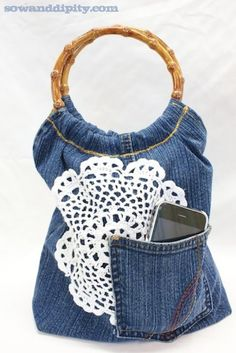 recycled jean purse