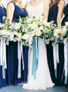 Image by Ally and Bobby Ribbon Bouquet, Satin Ribbon Flowers, Blue Bouquet, Velvet Ribbon, Diy Ribbon, Wired Ribbon, Blue Ribbon, Cream Wedding, Blue Wedding