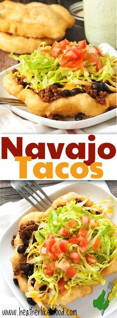 Navajo Tacos Navajo Tacos can be topped any way you like to eat your tacos! Just make up the fry bread and smother it with all your favorites. Ingredients Baking & Spices 2 cup Self rising flour 1 Shortening Liquids 1 cup Water Pickedz Mexican Dishes, Mexican Food Recipes, Beef Recipes, Cooking Recipes, Recipies, Recipes Dinner, Best Dinner Recipes Ever, Mexican Bread, Fast Recipes