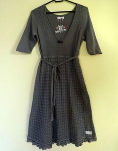 Odd Molly 658 Crochet Knit Dress Grey Size 2 Medium M Embroided Odd Molly, Floral Midi Dress, Gray Dress, Knit Dress, Size 2, Folk, Short Sleeve Dresses, Medium, Knitting