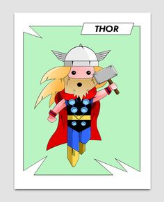 Little Thor super hero character print