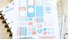 Cute Coral Planner Stickers - Free Printable