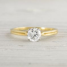 Image of .71 Carat Vintage Tiffany & Co. Gold Solitaire Engagement Ring
