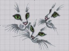 RP. Cross-stitch Cats.. no color chart available, just use the colors on pattern chart as your guide.