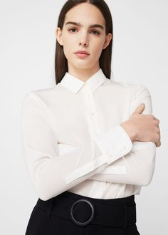 Dressed For Work In White Shirt And Black Dress Pants Perfect Woman, Black Dress Pants, Wardrobe Staples, Preppy, Button Up, Mango, Ruffle Blouse, Dresses For Work, Blouses