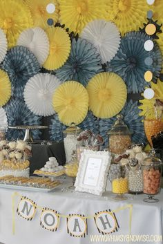 Yellow and Grey Dessert Table and Backdrop...............big yellow flowers i bought???