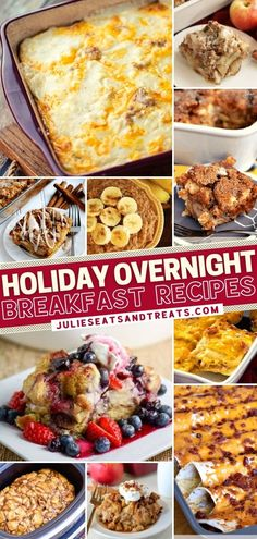 Check out this food list when you are hosting company for the holidays! If you don't want to get up on Christmas morning, make these overnight breakfast ideas ahead. Find everything you need from french toast to casseroles – slow cooker and Instant Por recipes included!