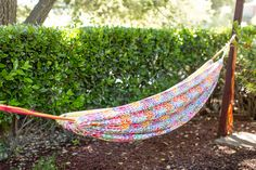 Make This DIY Summertime Hammock for National Hammock Day via Brit Co Hiking Gear, Outdoor Furniture, Outdoor Decor, Hammock, Outdoor Gardens, Summertime, Diy Projects, Backyard, Crafty