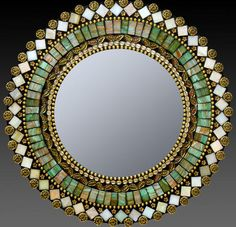 Jade Taupe Mosaic Mirror by Zetamari Mosaic Artworks. A dazzling mix of richly hued and iridescent vitreous tiles and glass beads. 2013 Buyers Market of American Craft. Mosaic Pots, Mosaic Glass, Mosaic Tiles, Glass Art, Mosaics, Stained Glass, Mosaic Wall, Sea Glass, Mosaic Artwork