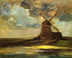 His palette is soft and supple, filling the composition with richness not typical of northern landscapes.This is a quiet, yet vast landscape rich with broad horizontal brush marks that give a very clear indication of the real size of the field we are looking at. The windmill, the sole man-made object in the composition is also the only vertical element in the painting, also providing us with a good geographic indication of the location.