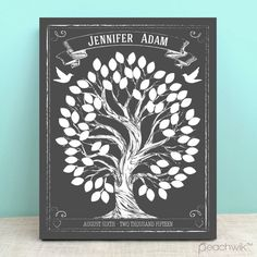 Chalkboard Style Wedding Tree Guest Book Alternative - Wedding Wish Tree - By Peachwik