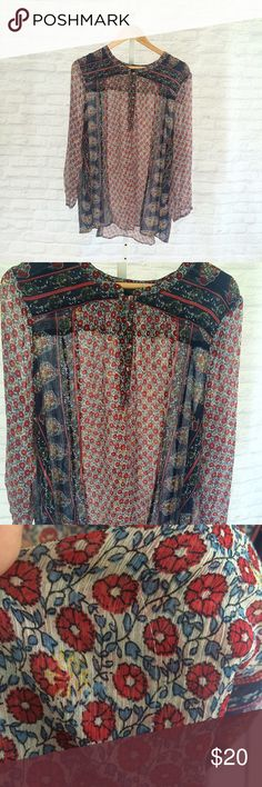 Lucky Brand Top Sheer floral top. Button detail on front and sleeves. Small snag shown in last picture. Lucky Brand Tops Tees - Long Sleeve