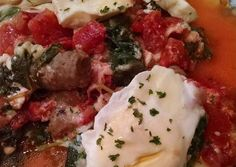 Spinach and Tomato Poached Eggs Recipe -  Very Delicious. You must try this recipe!