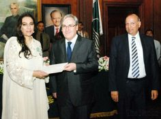 """Pakistan's most respected and experienced haute couturier, Nilofer Shahid, was officially awarded with """"Le grade de chevalier dans l'ordre des Arts et des lettres"""" in recognition for her contribution to the development of Art, Culture & Fashion Design. The Award was conferred by H.E. Mr. Philippe Thiébaud, Ambassador of the French Republic to Pakistan. Nilofer Shahid has reinvented the classic vision of Haute couture garments and accessories with her highly researched collections."""
