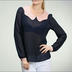 ✨ Price Drop! ✨ Navy Top with Pink Collar Lovely sheer navy top with pink and white polka dot peter pan collar and pink and white polka dot cuffs.  Sizes: 2 Small, 2 Medium, 1 Large.   Leave a comment about which size you want, and I will make a new listing for you! :)  No trades! Moon Collection Tops
