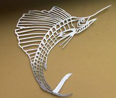 Sailfish, bones, metal, fish art, wall art, metal fish art, saltwater, fish mount.