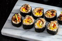 Avocado, Mango & Kimchi Sushi Rolls (can also make into a sushi burrito)
