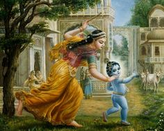 Mother-Yasoda-Chases-Baby-Krishna-with-a-stick-in-her-hand-damodara.jpg (1056×850)
